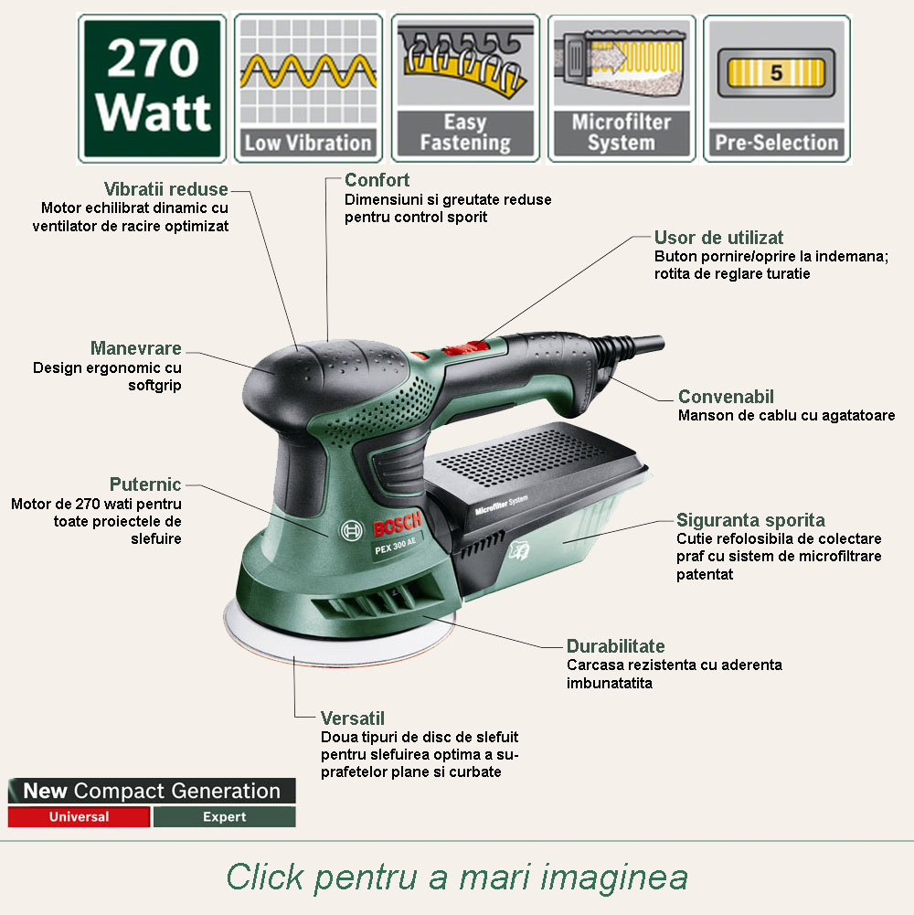 bosch pex 300 ae slefuitor cu excentric 270 w 125 mm sistem antivibratii turatie. Black Bedroom Furniture Sets. Home Design Ideas