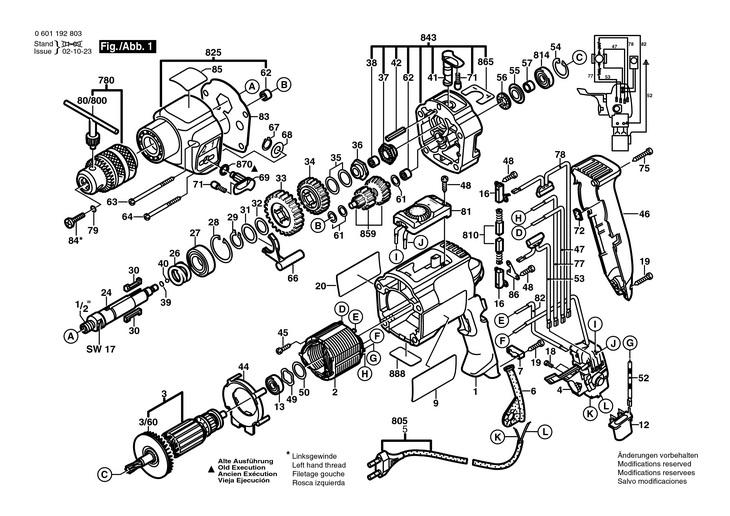 masina de gaurit percutie  0601192803  gsb 202 ret    230 v   eu 0601192803 piese de schimb